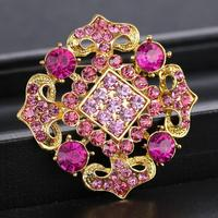 Square Gold Flower Brooches Pins Wedding Party Jewelry Pink Top Amethyst Crystal Brooches for Women Rhinestone Brooch Pins