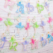 New C Ballet Girls Letter Paper Flag Banner Girl Princess Flags Baby Shower Birthday Party Supplies