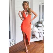2017 New Style for Ladies Soild Off Shoulder Bodycon Dresses Orange O Neck Vestidos Mujer Femme Robe Party Night Club Dress