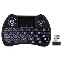 Zeepin H9 2.4GHz Wireless Mini Keyboard Air Mouse with RGB Backlit Touchpad for Android Google TV Box TZ P9 Russian Version(China)