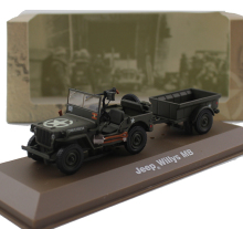 ATLAS 1:43 World War II U.S.A Wil ys MB + drag card model Alloy collection model Holiday gift(China)