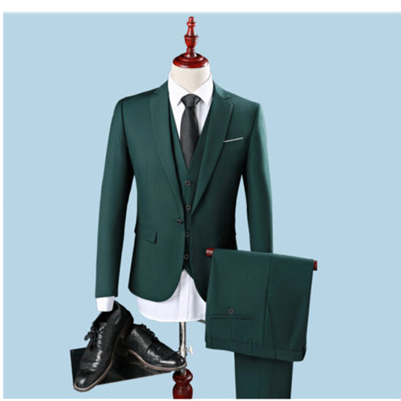 1-4 mens classic suits Custom Dark Green Men\'s Suits Peaked Lapel Slim Groomsman Tuxedos 3 Piece Suits ( coat + pants + vest)