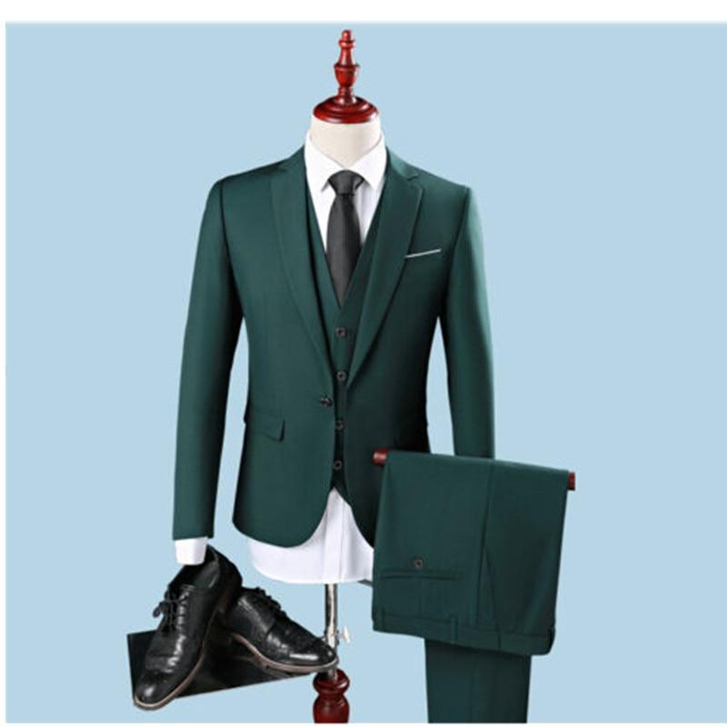1-4 mens classic suits Custom Dark Green Men\'s Suits Peaked Lapel Slim Groomsman Tuxedos 3 Piece Suits ( coat + pants + vest)
