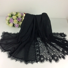 Embroidery Flower Borders Plain Shawls Lace  Muslim Hijab 2016 Shawls Head Wraps Long Scarf Women Luxury Scarf 10pcs/lot