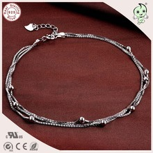 Very Nice Good Quality 925 Sterling Silver Three Circle Foot Chain  Anklet Chain With Small Beads Charm