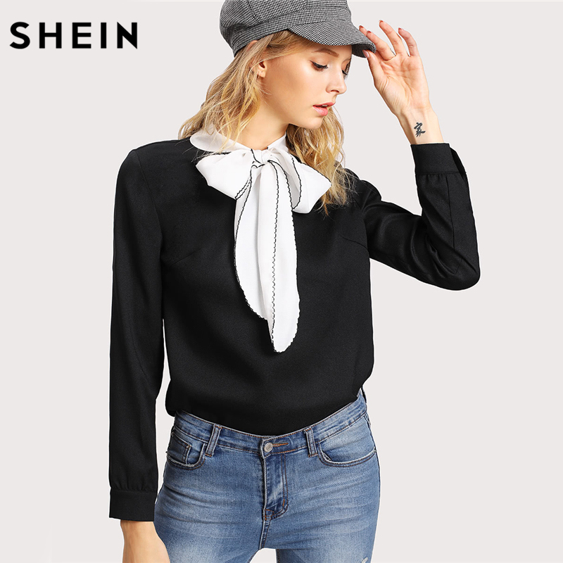 SHEIN Black Women Blouses Color Block Long Sleeve Womens Tops Blouses Autumn Clothes Women Contrast Tied Neck Blouse