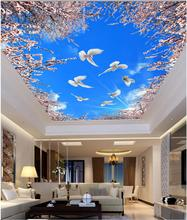 Buy Custom photo 3d ceiling murals wallpaper Cherry blossoms blue white doves 3d wall murals wallpaper living room walls 3d for $16.42 in AliExpress store