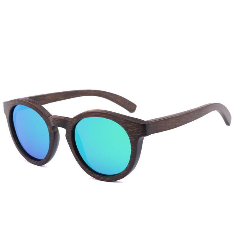 BerWer Brown Bamboo Sunglasses Women Polarized Fashion Sun Glasses Original Wood Oculos de sol with Bamboo round case
