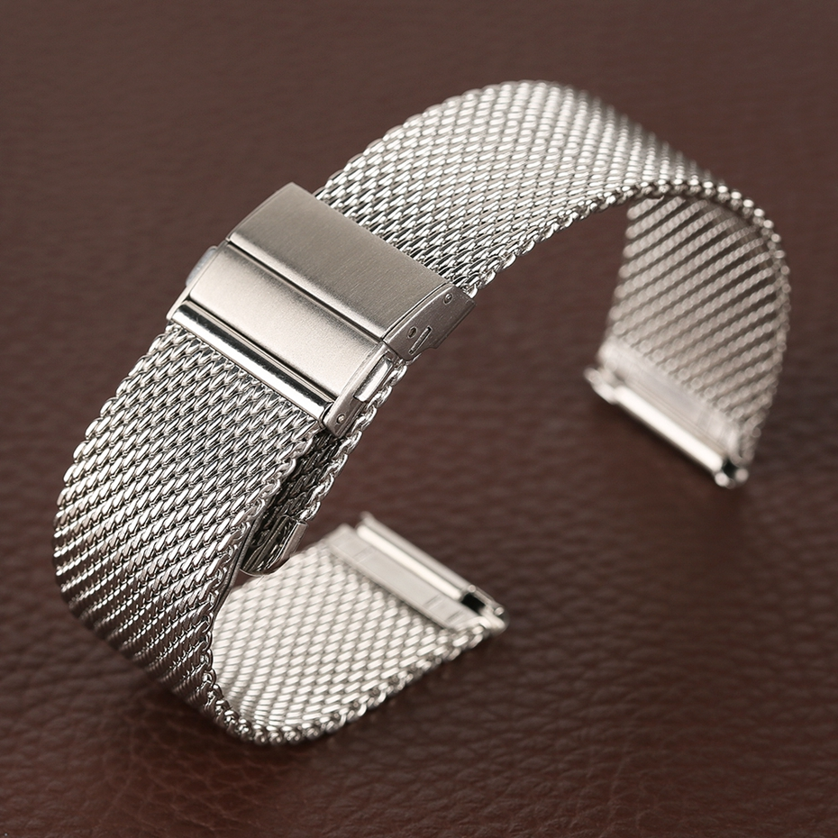 Mesh Milanese Bracelet Clasp Watchbands High Quality 18mm 20mm 22mm Silver Black Wrist Watch Band Strap for Clock Replacement 2018 (33)