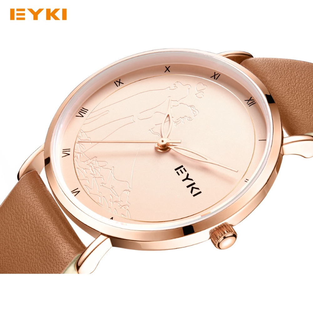 EYKI Women Leather Watches Top Brand Simple Men Ladies Quartz Watch Roman Number Hollow Pointer Carved Dress Wristwatch With Box<br>