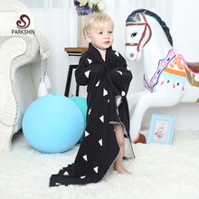 Parkshin Black And White Triangle Blanket 100% Cotton Cute Knitted Plaid Bedspread For Sofa/Bed/Home/Gifts 2 Size Blanket