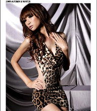 Women Sexy Lingerie Temptation Backless Leopard Dress Evening Sexy Sleepwear Nightgown Sexy Uniform Costume Backless women gift(China)