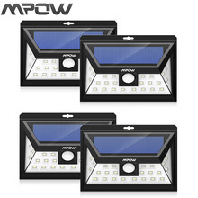 Mpow 24 LED solar lighting 4 pcs IP65 Wide Angle Security Motion Sensor Light with 3 Modes Motion Activated for outdoor Garden(China)