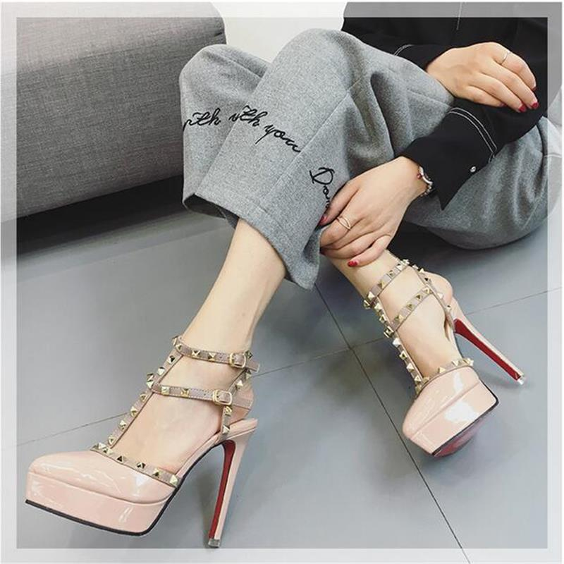 New 2017Hot Women Platform Pumps Ladies Sexy Round Toe High Heels Shoes Fashion Buckle Studded Stiletto Sandals <br>