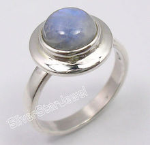 Solid Silver Amazing BLUE FIRE RAINBOW MOONSTONE BESTSELLER Ring Any Size(China)