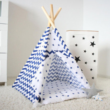 blue stripe Dog Bed Dog House Pet play House play teepee tent lovely warm dog/cat play bed with mat together(China)