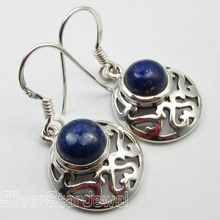 Solid Silver WELL MADE Earrings 3.1 CM, NAVY BLUE LAPIS LAZULI GEM STONE NEW(China)