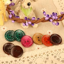 100 PCS/Lot  Wooden Buttons 19mm Mixed Colors Round Wood Buttons Stoving Varnish for Toy DIY Sewing E5M1