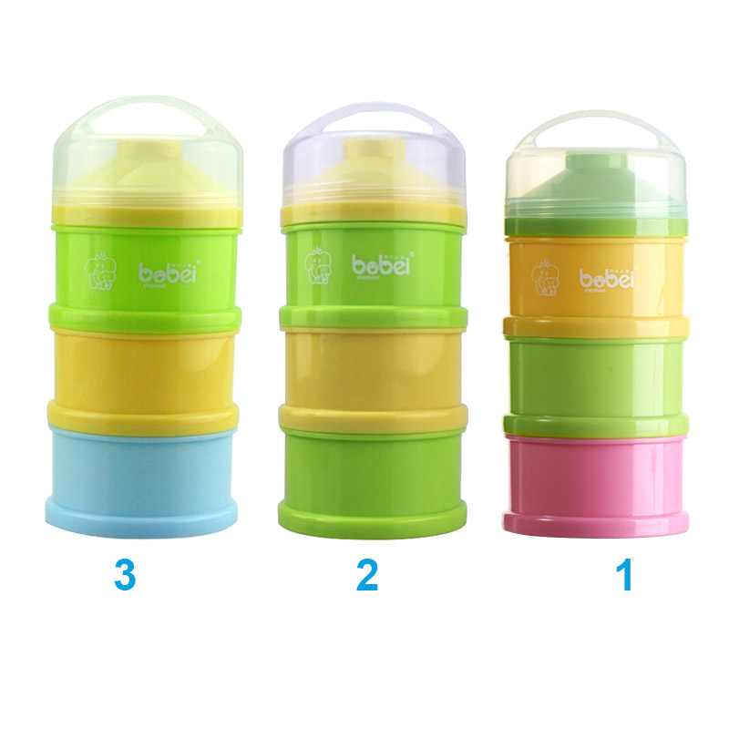 3 Layer Baby Infant Feeding Milk Powder Milk Container Storage Feeding Box Food Bottle Contain Pink+Yello+Green YH-17