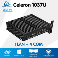 Mini PC Industrial Computer Intel Celeron 1037U One Lan 4 Com Mini Industrial PC Windows 10 Linux Computador HDMI VGA Router PC(China)
