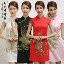 Liang Wind Cheongsam Retro Fashion Short Skirt Summer Clothing Welcome Chinese Style Work Wear Unique Clothes J178(China)