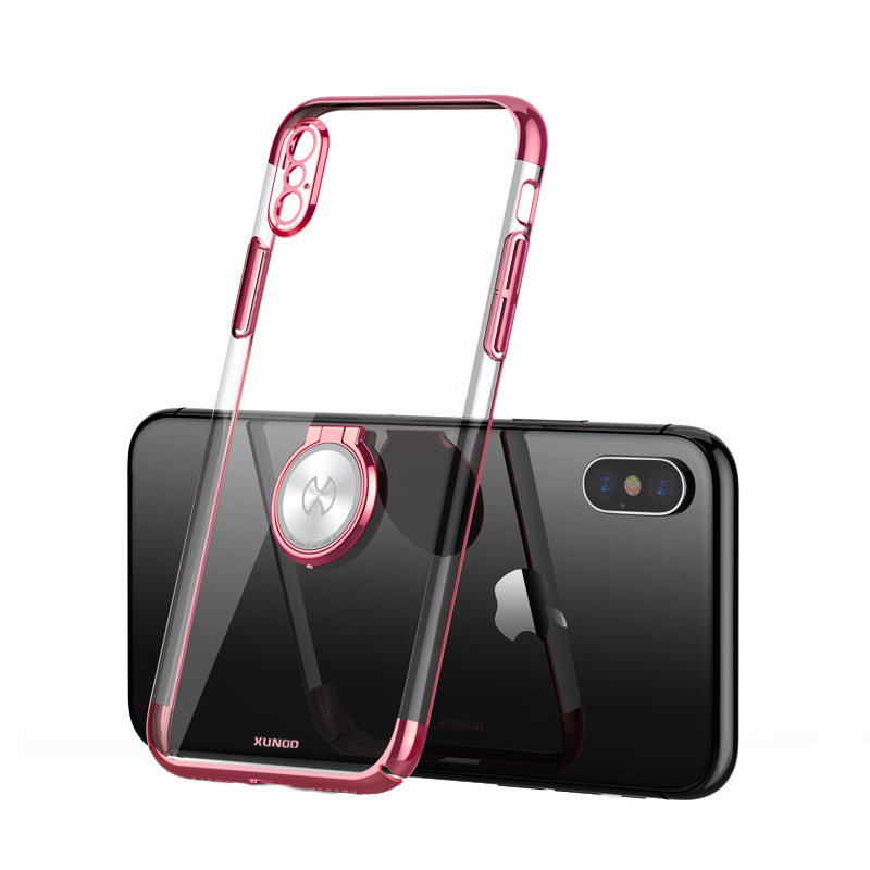 Luxury Clear Ring Holder Case For iphone X 10 Xundd Hard PC back Cover For iphone X case capa work with Magnetic car holder 8