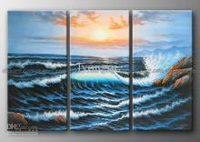 Free shipping! Hand-painted Hi-Q modern home abstract lanscape seascape ocean oil painting Sea Wave Sunshine 3pcs/set