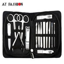15 in 1 Manicure Set Professional Nail Clipper Kit Utility Pedicure Scissors Tweezer Knife Ear Pick Nails Art Beauty Tools Sets(China)