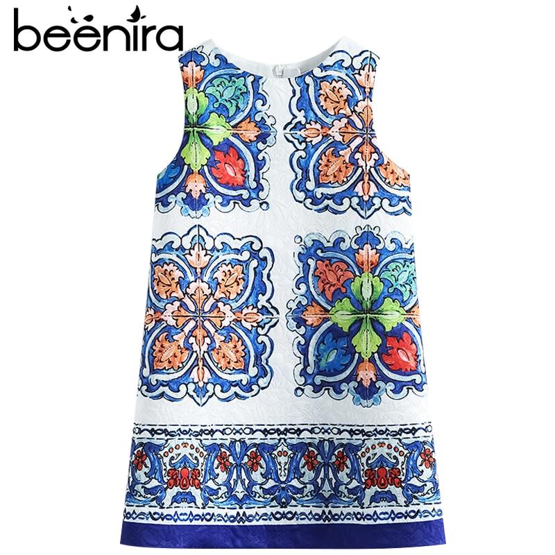 Beenira Girls Summer Dresses 2017 New European And American Style Kids Sleeveless Pattern Princess Dress Children 14Years Dress<br>