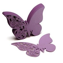 FJS-50 pcs Name Card Place card Paper Butterfly PURPLE Wedding Cake Cap Deco