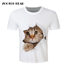 Men Cat T shirt Printed Fashion Funny Short Sleeve Skate Camisa 2017 Casual Tshirt White Male Brand Clothing Animal ZOOTOP BEAR