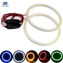 YM E-Bright 2PCS(1pair) Halo Ring COB 60MM 70MM 80MM 90MM 100MM 110MM 120MM With Cover 9-30V Car Headlight Angel Eyes White