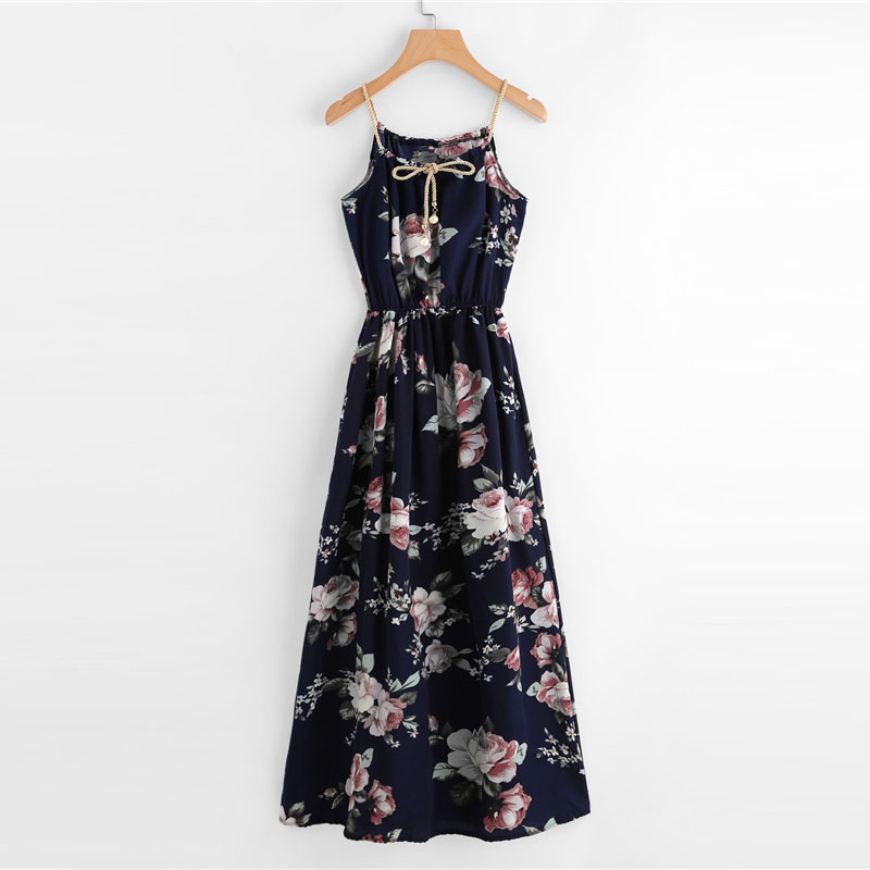 COLROVIE 2018 All Over Florals Faux Pearl Detail Cami Dress Ladies Sleeveless A Line Dress Spaghetti Strap Vacation Dress 15