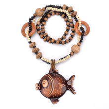 Buy Ocean winds Style Wooden Hand carved Big Fish DIY Beaded Pendant Necklace Fashion Jewelry Women Birthday Gift Present for $2.39 in AliExpress store