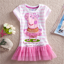 2016 Summer Girls Striped Dress Casual Baby Girls Clothing Printing Pig Girl Dress Children Girls Dresses Kids Dress