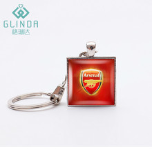 GLINDA Football Team Badge Square Keychain lucky amulet Silver Plated Pendant Keychains Arsenal F.C Jewelry Football Fans Gifts(China)
