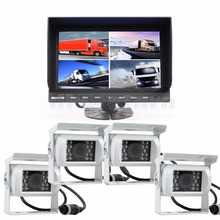 DIYSECUR 9Inch Split QUAD Monitor + White 4 x CCD IR Night Vision Rear View Camera Waterproof Monitoring System(China)