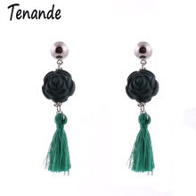 Tenande Fashion Jewelry Bijoux Bohemian Long Rope Tassels Earrings Gypsy Vintage Flower Earrings For Women Brincos Accesssories(China)