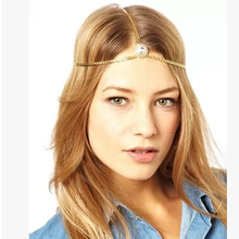 Best Selling Free Shipping 2017 new fashion Jewelry hair accessory royal round crystal gold chain headband punk hairband women