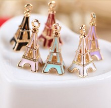 MRHUANG Oil Drop Charms 10pcs/lot Metal Cute Tower Charm Pendants Gold-Color  Floating Enamel Fashion Jewelry Accessories