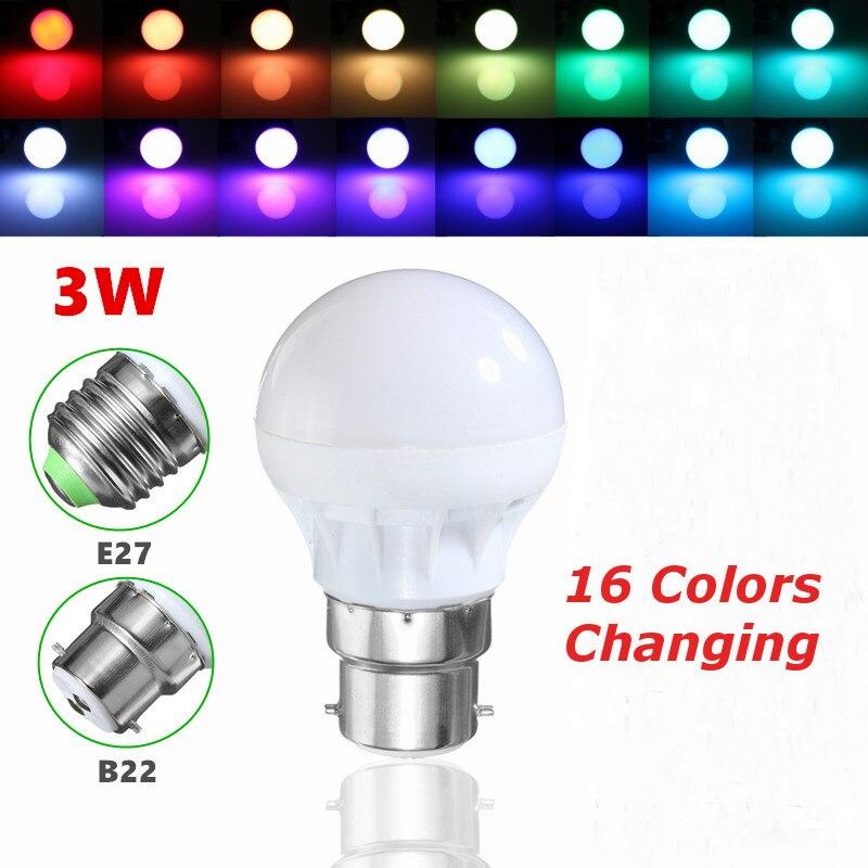 Hot Sale E27/B22 3W RGB 5050 SMD 6 LED Globe Light Bulb Lamp Energy Saving 16 Colors Changing Home Decor Light AC85-265V<br><br>Aliexpress