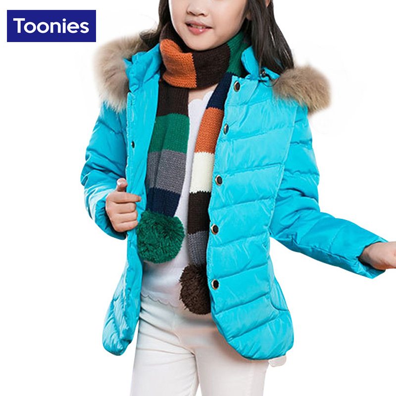Brand New 2017 Fur Collar Hooded Winter Jackets for Girls Children Long Warm Coat Button Fashion Design Outerwear Kids ClothesОдежда и ак�е��уары<br><br><br>Aliexpress