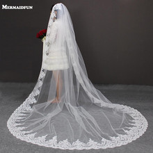 3 M Length 3 M Width Vintage Style Cathedral Bridal Veil with Comb Long Lace Appliques One Layer Wedding Dresses Veil(China)