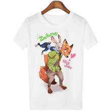 New 2016 Summer T-shirt Women Zootopia Fox and Rabbit Print Tee Shirt Femme Casual T-shirt For Short Sleeve Hipster Tops White