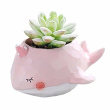 Natural Resin Cute Animal Design Succulent Plant Pot New Landscape Flower Pot Whale Crocodile Elephant Planter Garden Decor()