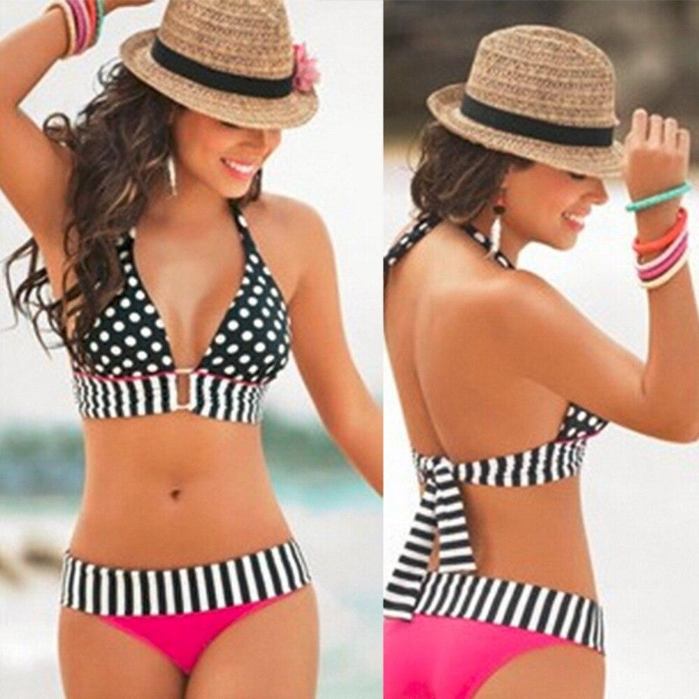 Promotion XL Pink Black Dots  Pattern High Waisted Retro Fringe Vintage Bikini Swimsuit Bathing Swim Polka<br><br>Aliexpress