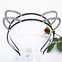 Girls Shine Cat Ear Princess Hairband Child Birthday Party Crown Headband Kids Crystal Diamond Tiara Hair Bands Hair Accessories(China)
