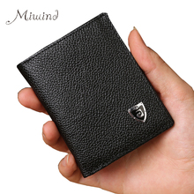 2017 Men Brand Mini Luxury Genuine Leather Men Small Wallet Short Slim Purse Card Holder Minimalist Designer Money Dollar Clip