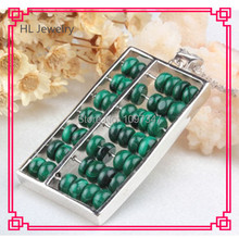 2014 New Product Hot Sale Malachite Beads  Abacus Pendant Necklace  Inlaid  Malachite Green Beads  Vintage Pendant Necklace