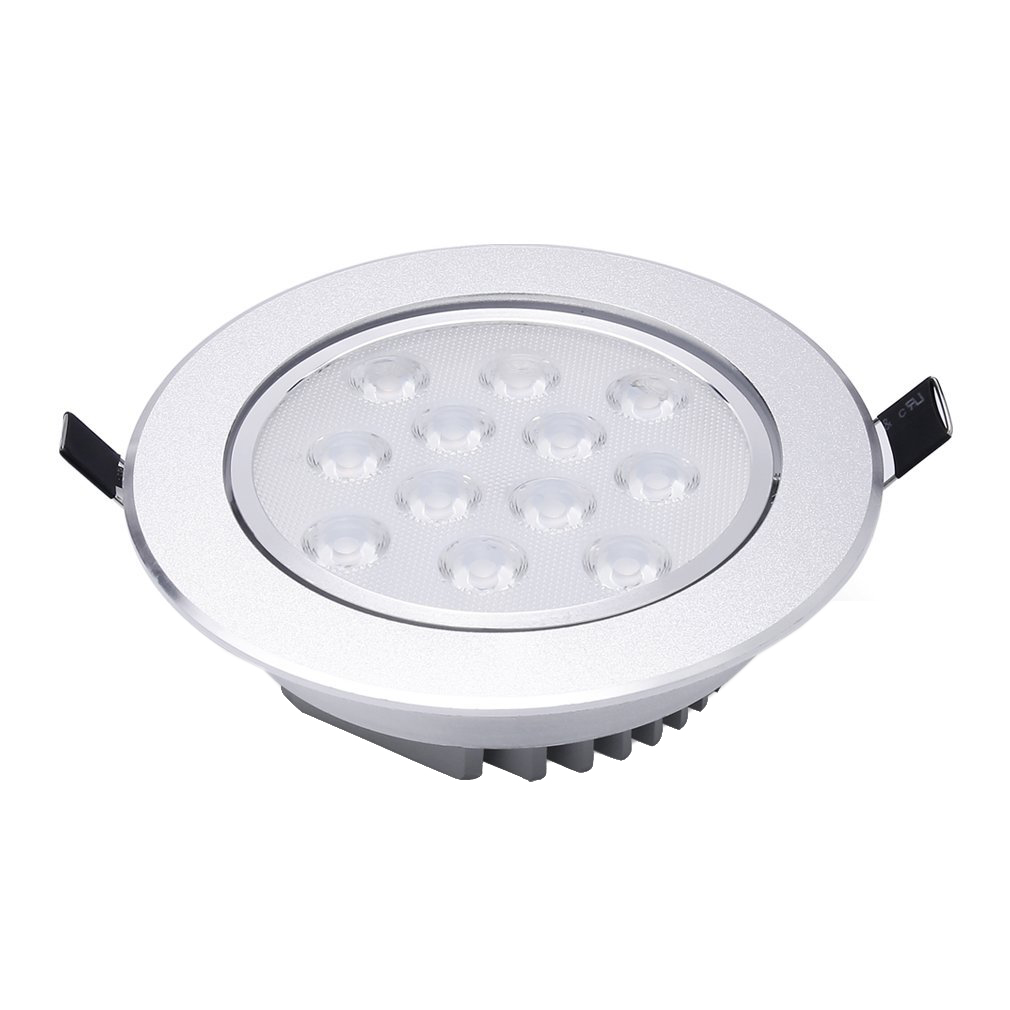 Warm White LED Recessed Light Energy Saving Downlight Indoor Ceiling Lamp (Pack of 4, 12W, 3000K)<br>
